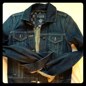VS Pink cropped Jean's jacket